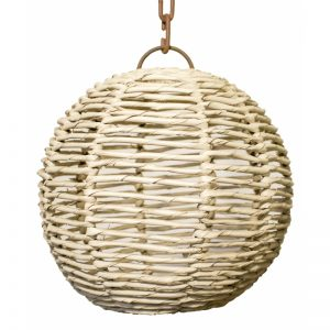 "Rattan ""Palm"" Sphere Pendant  Light"