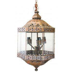 """Farol Chino"" Mirrored glass and tin lighting"