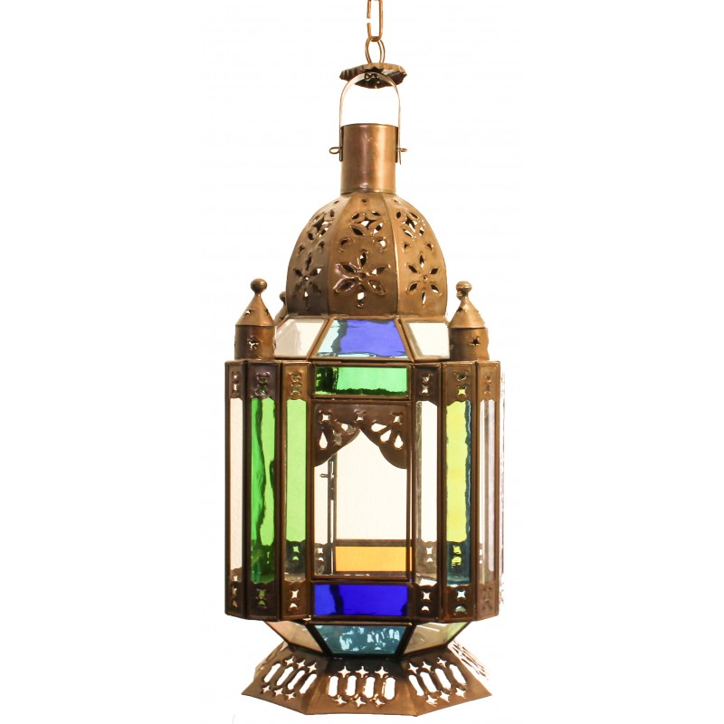 """Farol Churumbela"" Clear glass and punched tin lamp"