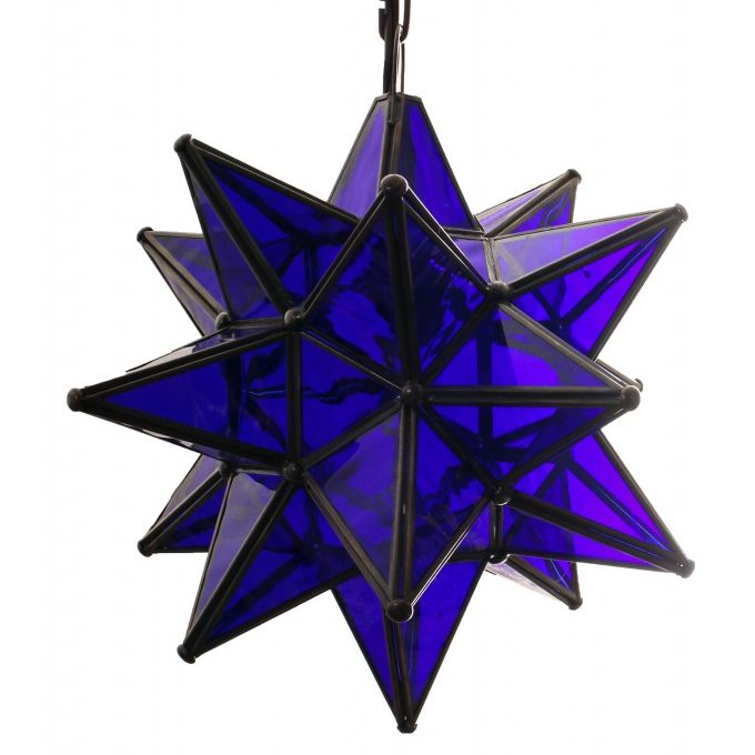 Blue Glass Hanging Star