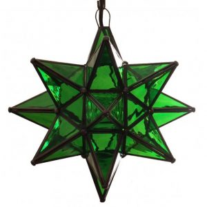 Green Glass Hanging Star