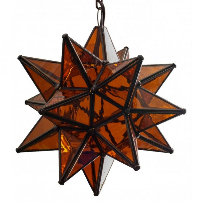 Amber Glass Hanging Star