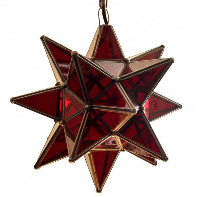 Amber Glass Hanging Star