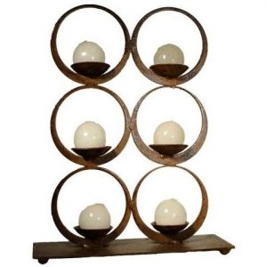 """""""6 Aros"""" Iron Plate Candle Holder"""